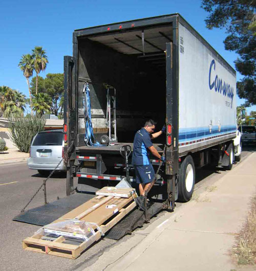 pallet on liftgate lowered to ground