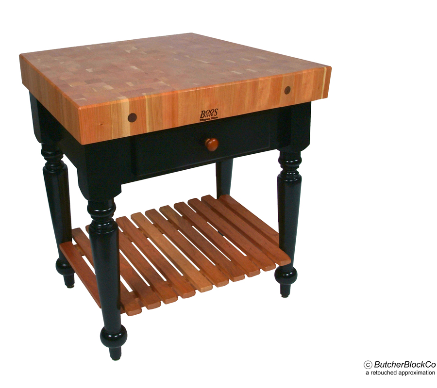Le Rustica with Slatted Cherry Shelf - Cherry Block on Black Legs