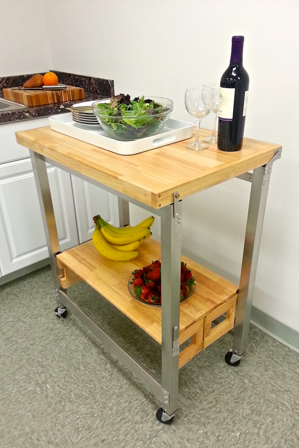 oasis island kitchen cart stainless steel and wood kitchen cart 30 x 20 in 21012