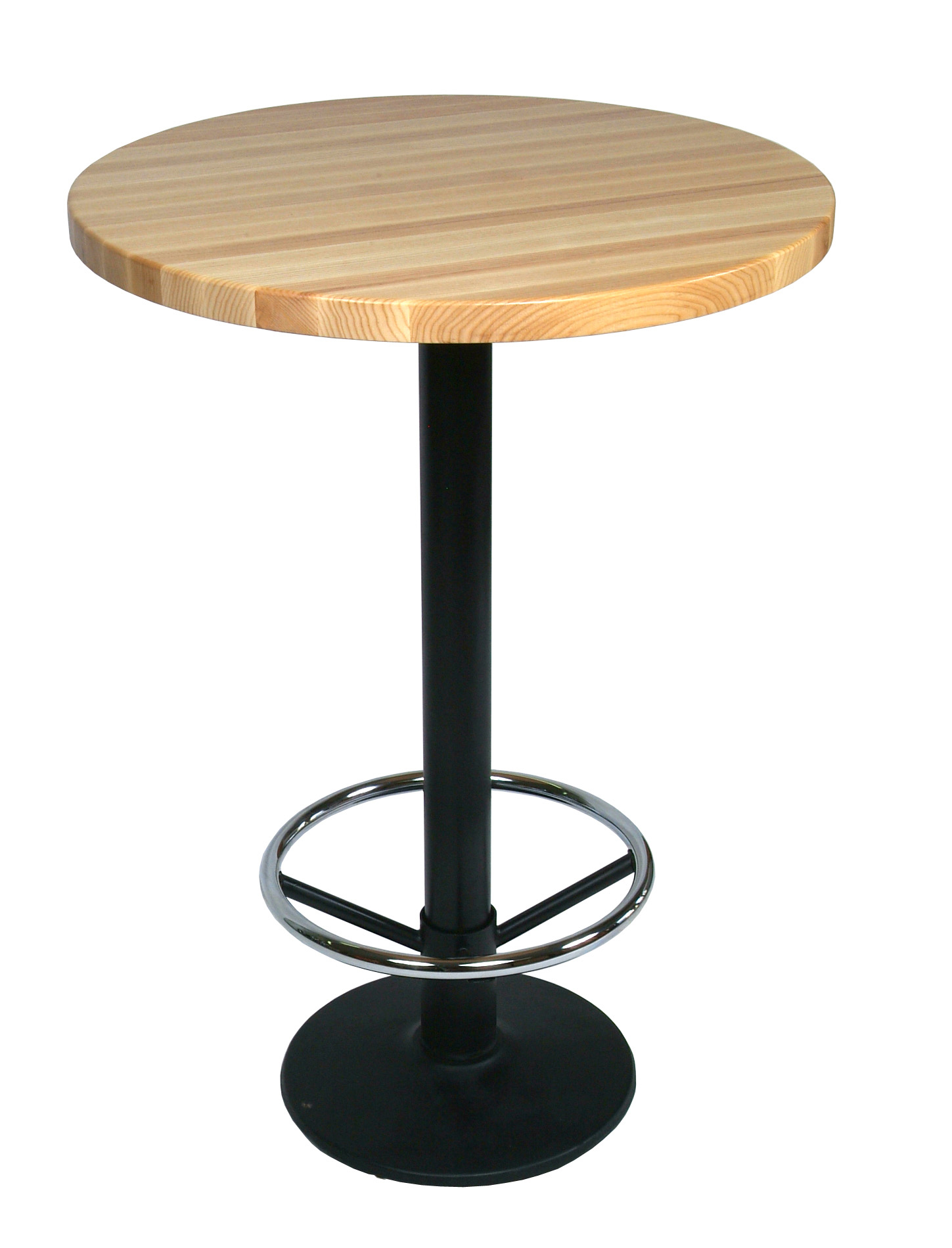 John Boos Oak Edge Grain Butcher Block Table Top on Metal Disc Base with Foot Rest
