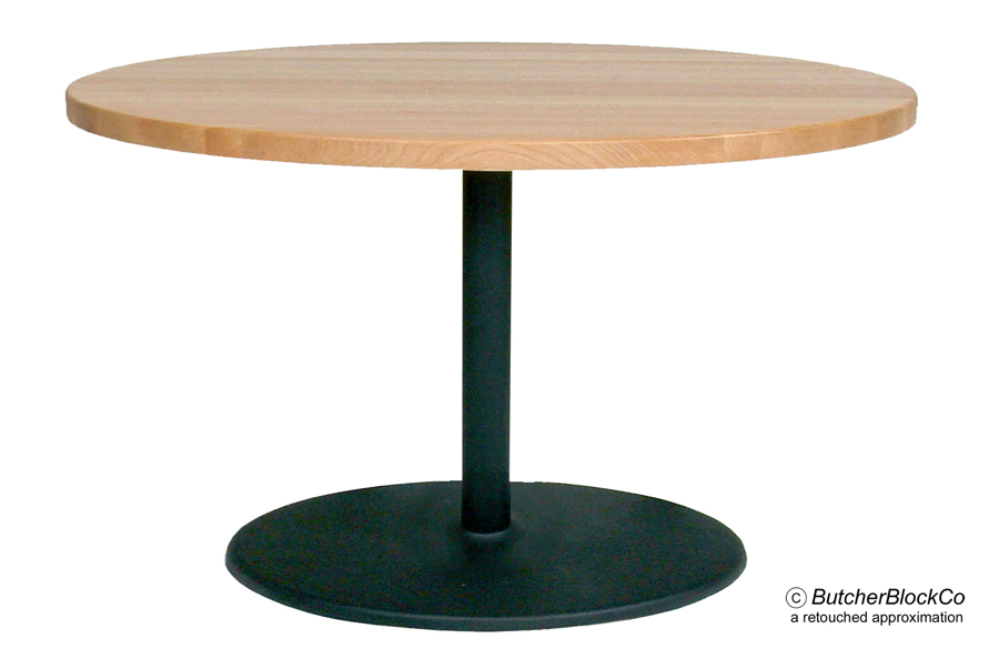 Round Maple Butcher Block Cafe Table, Black Pedestal & Disc Base