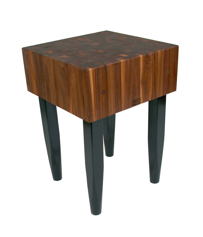 "John Boos 10"" Thick Walnut Butcher Block on Black Pencil Legs, 5 Sizes"