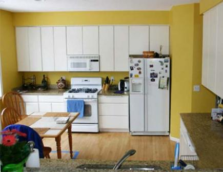 A kitchen with plain white cabinetry