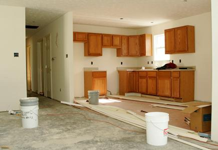 A kitchen in the process of a remodeling