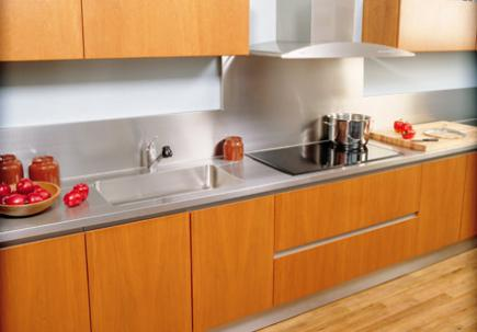 Kitchen Space with Stainless Steel Countertop