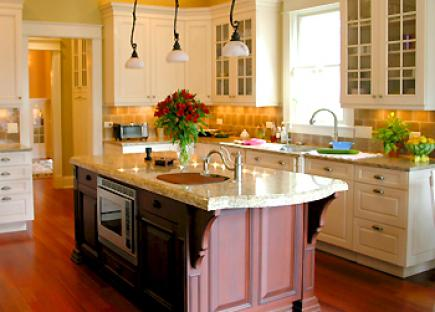 A kitchen with island and cabinets in contrasting colors.