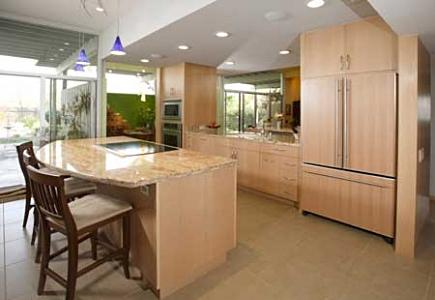 A contemporary kitchen with an open layout.