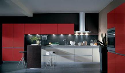 一个红色的厨房和红色的灰色的鞋子。
