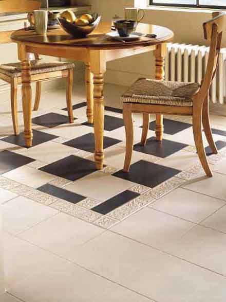 Crossville tile floor in black and white.
