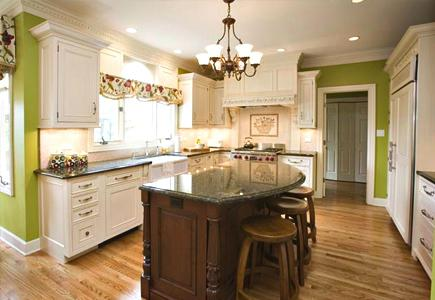A Traditional Kitchen With Vivid Light and Dark Colored Features