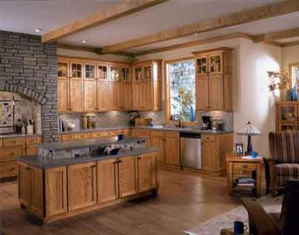 Rustic Arts & Crafts kitchen with oak cabinets.