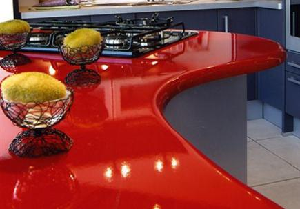 Curving Lavastone countertop with bowls