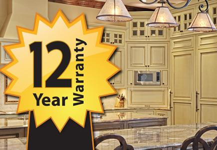 Cabinets with Warranty logo superimposed.
