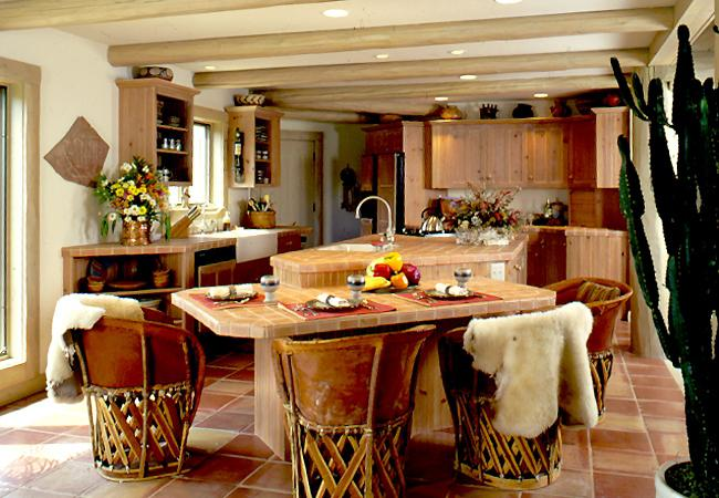 Southwest-Style Kitchen with Terra Cotta-colored floors