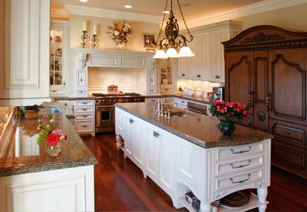Kitchen with white wood cabinet island