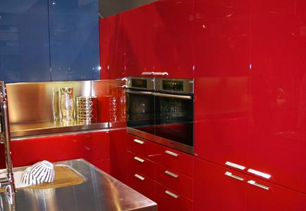 Kitchen With Red Laminate Cabinetry