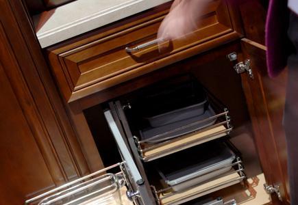 Cabinet door opened to reveal interior.