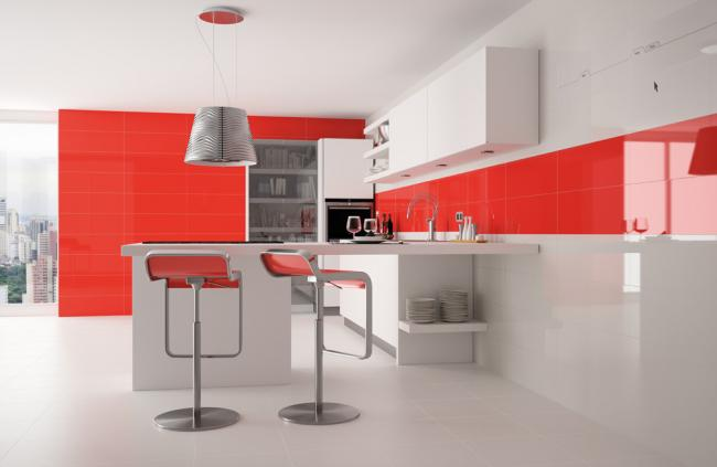Red Kitchen Wall Tile