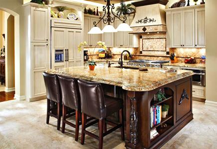 A Country Kitchen with Beadboard Style Doors and Cream-Colored-Cabinets
