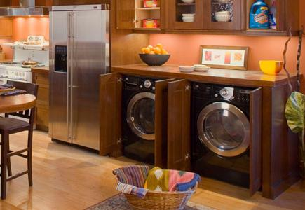 Product-Guide Washer-Dryers Trends In Laundry Appliances- Washer-Dryer-Side-By-Side-In-Kitchen