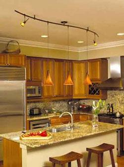 Kitchen with monorail pendant lighting system