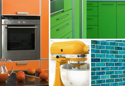 A selection of brightly colored kitchen elements and appliances