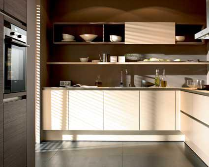 SieMatic compact kitchen with gray and beige cabinets