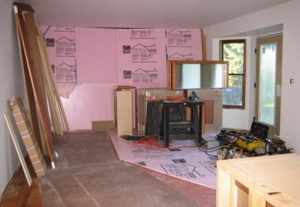 A kitchen in the early stages of a remodel.
