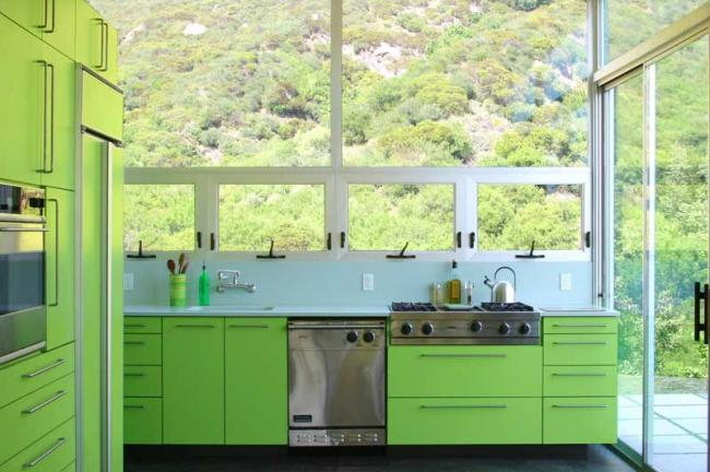 Santa Monica Kitchen with Green Cabinets by Bruce Bolander