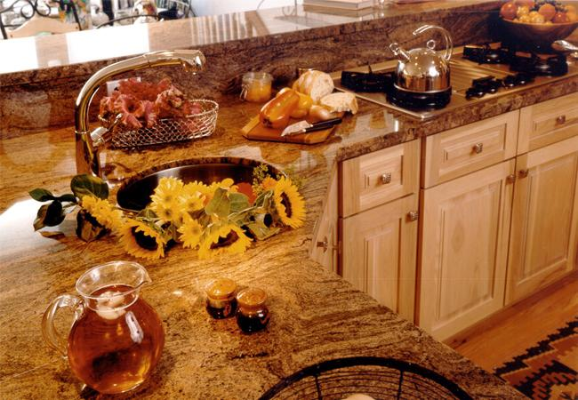Rose, Charcoal and Beige Colored Granite Countertops