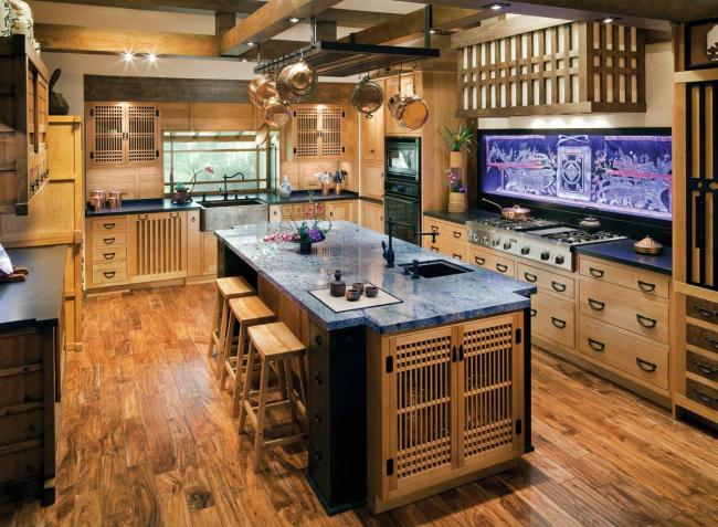 A Japanese style kitchen with blue granite counters and Shoji-look cabinetry