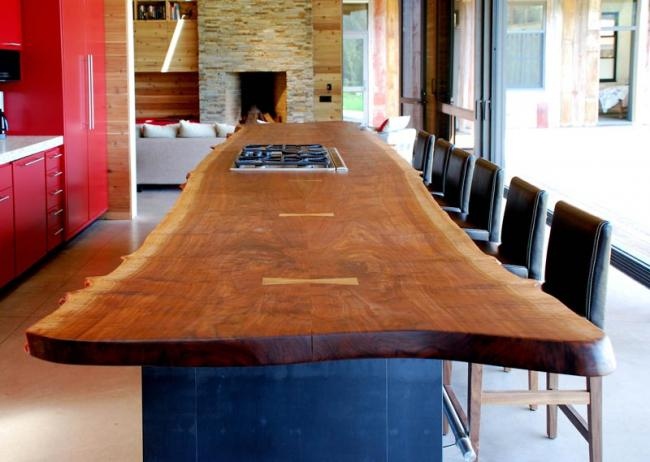 reclaimed wood counter and island in the kitchen