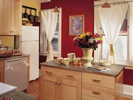 A kitchen painted in warm colors