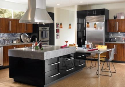 Black and Grey Kitchen Island