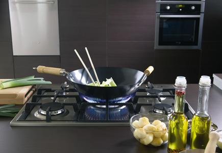 This 28-inch gas cooktop fits five burners into a small space.