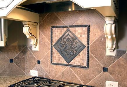 A decorative tile backsplash