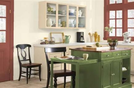 A kitchen with green cabinetry