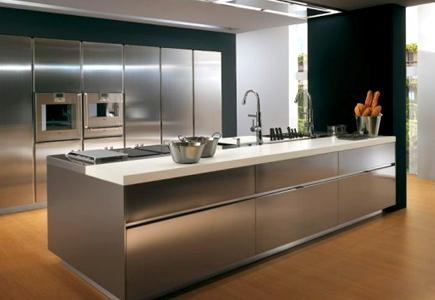 A kitchen with stainless steel cabinetry