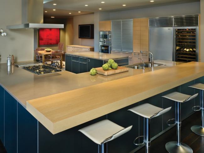 NKBA award winning minimal contemporary open plan kitchen design