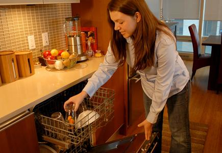 Woman-Opening-Dishwasher