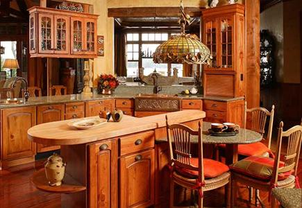 A Rustic Kitchen with Custom Pine Cabinetry