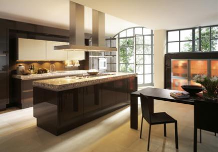 Dark wood custom cabinetry in kitchen