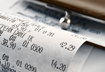 Close Up of Receipt