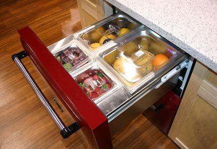 A-refrigerator-drawer-with-adjustable-dividers-for-storing-produce.