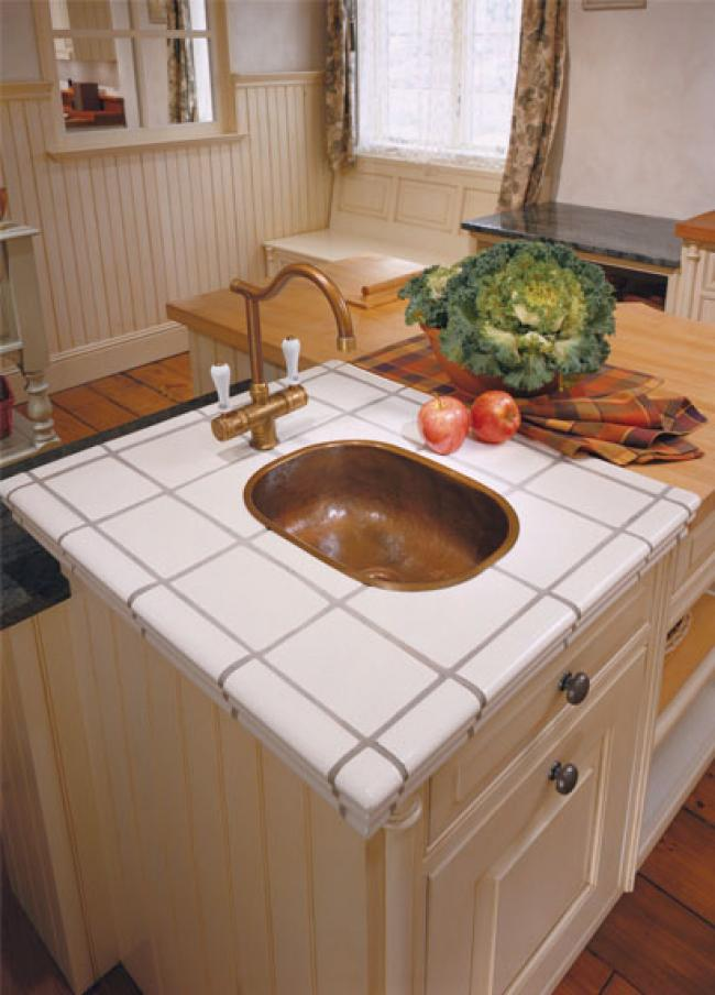 Tile Countertop with Hammered Copper Sink