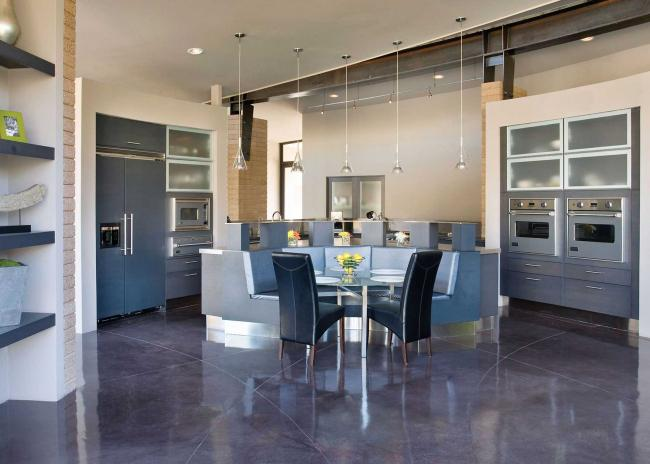 Large contemporary kitchen in shades of blue and gray