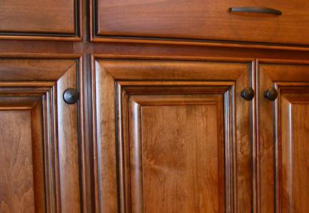 Close up of wooden cabinetry