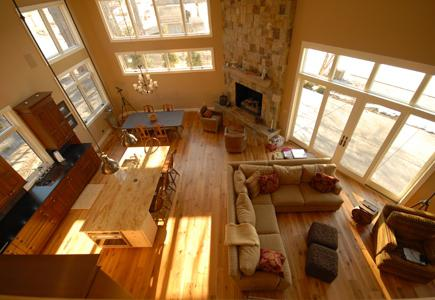 High-Angle View of Wooden Floor Dining Room