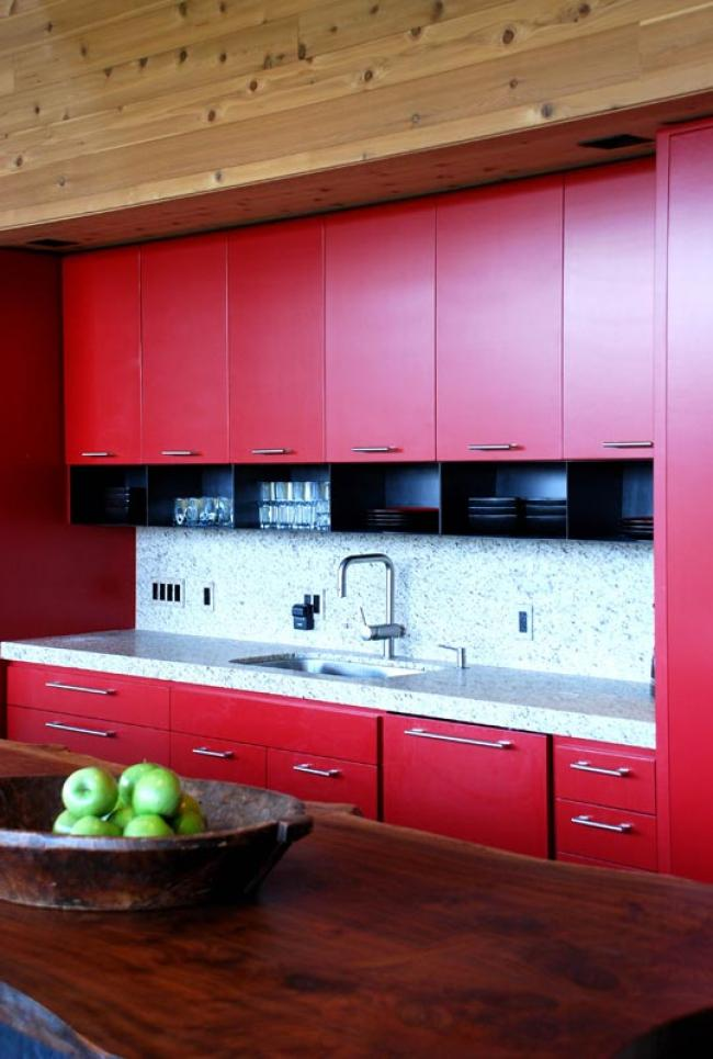 Epic View Kitchen - Red Cabinets