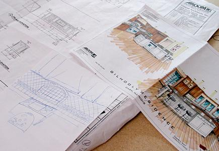Plans and drawings on a table
